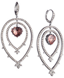 Jenny Packham Hematite-Tone Pavé & Stone Orbital Drop Earrings