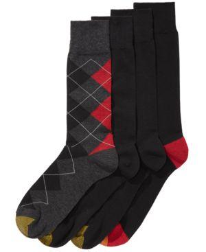 GOLD TOE Men'S 4-Pk. Argyle Socks in Black