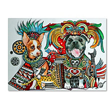 Oxana Ziaka 'Chihuahua and Pitbull in Mexico' Canvas Art Collection