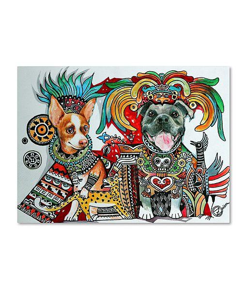 "Trademark Global Oxana Ziaka 'Chihuahua and Pitbull in Mexico' Canvas Art - 19"" x 14"" x 2"""