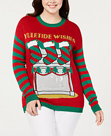 Planet Gold Plus Size Embellished Holiday Sweater