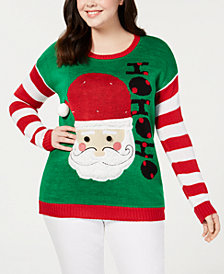 Planet Gold Trendy Plus Size Light-Up Santa Christmas Sweater