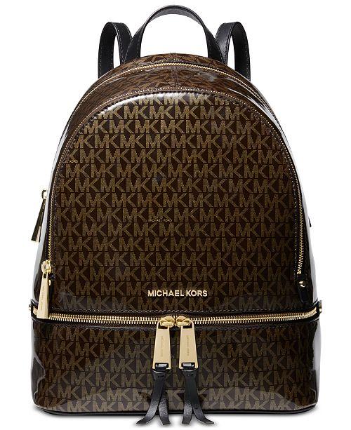 7ab7a5e1fe ... Michael Kors Signature Glossy Rhea Zip Backpack