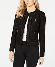 MICHAEL Michael Kors Eyelash-Trim Metallic Blazer, In Regular & Petite Sizes