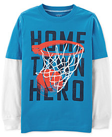 Carter's Little & Big Boys Hero-Print Layered-Look Cotton T-Shirt