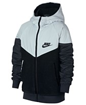 8ab3f32458 Nike Big Boys Sportswear Hooded Windrunner Faux-Sherpa Jacket