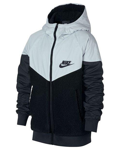 3192d156d3 ... Nike Big Boys Sportswear Hooded Windrunner Faux-Sherpa Jacket ...