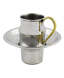 Classic Touch Stainless Steel Mayim Achronim Set with Gold Handle