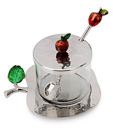 Nickel Honey Jar with Apple Shaped Tray