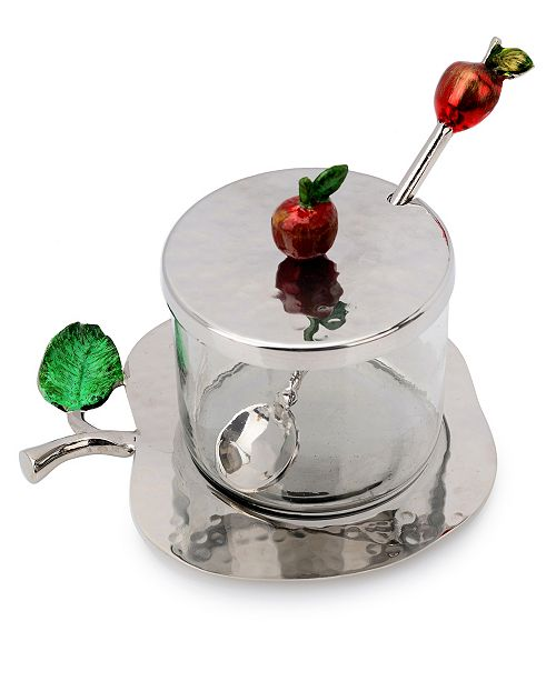 Classic Touch Nickel Honey Jar with Apple Shaped Tray