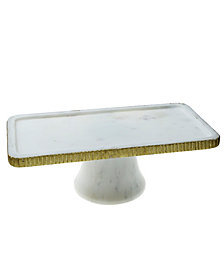 Classic Touch Serveware Marble Cake Stand with Gold Trim