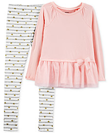 Carter's Little & Big Girls 2-Pc. Tulle Peplum Top & Leggings Set
