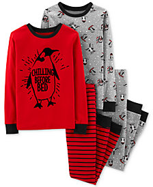 Carter's Little & Big Boys 4-Pc. Penguin Print Cotton Pajamas