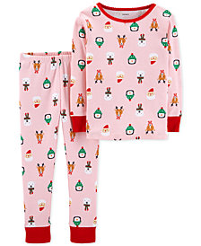 Carter's Toddler Girls 2-Pc. Cotton Santa-Print Pajama Set