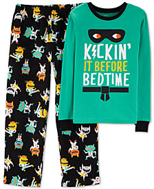 Carter's Little & Big Boys 2-Pc. Black Karate Monster Pajamas Set