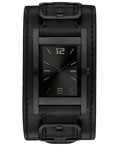 1bb811acaf637 ... GUESS Men's Black Removable Leather Cuff Watch 31x39mm ...