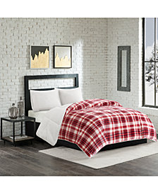 Premier Comfort Reversible Micro Velvet and Sherpa Down Alternative Full/Queen Comforter, Hypoallergenic