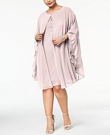 Plus Size Rhinestone Chiffon Dress & Capelet
