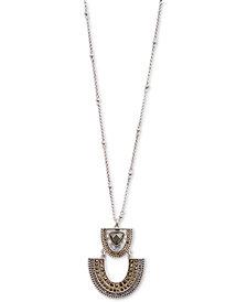 "Lucky Brand Silver-Tone Pavé & Stone Pendant Necklace, 30"" + 2"" extender"