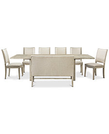 Parker Dining Furniture, 8-Pc. set (Table, 6 Side Chairs & Bench), Created for Macy's