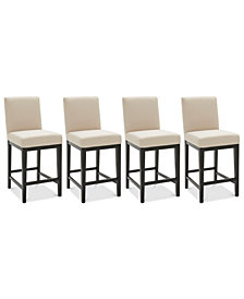 Tate Fabric Parsons Stool, 4-Pc. Set (4 Cream Counter Stools)