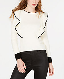 J.O.A. Ruffle-Sleeve Knit Top
