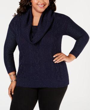 BELLDINI Plus Size Lurex Cowl-Neck Sweater in Midnight Blue