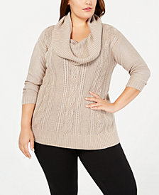 Belldini Plus Size Lurex® Cowl-Neck Sweater