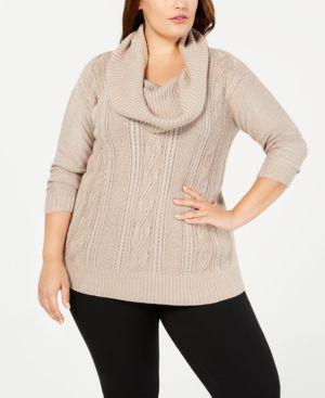 BELLDINI Plus Size Lurex Cowl-Neck Sweater in Taupe/Silver