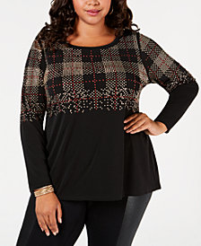 Belldini Black Label Plus Size Studded Top