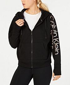 Calvin Klein Performance Metallic-Logo Relaxed Zip Hoodie
