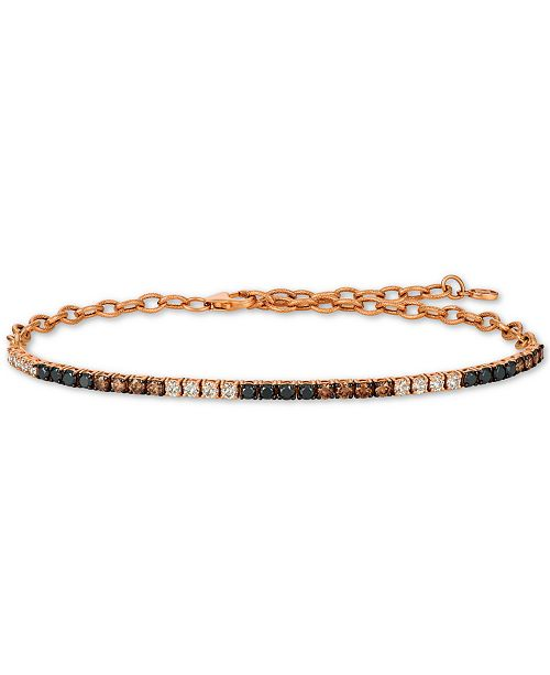Le Vian Chocolate Layer Cake™ Blackberry Diamonds® , Chocolate Diamonds® & Nude Diamonds™Diamond Bracelet (1-1/4 ct. t.w.) in 14k Rose Gold
