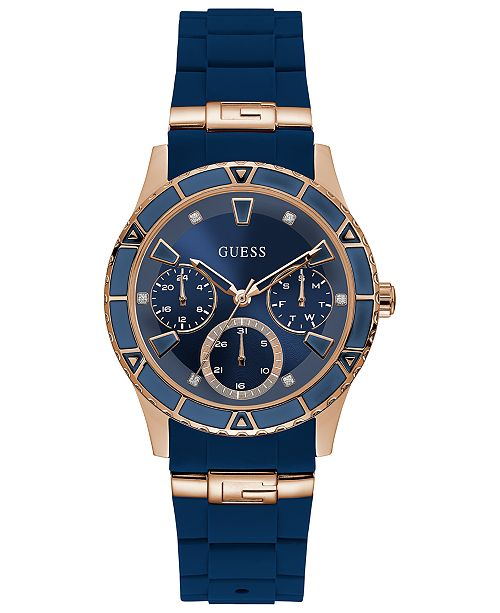 80b1cecad869a GUESS Women s Blue Silicone Strap Watch 38mm   Reviews - Watches ...