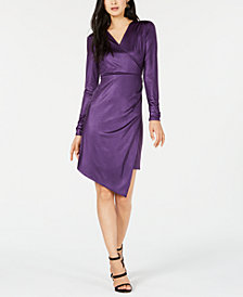 Bar III Liquid Shine Wrap Dress, Created for Macy's