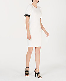 Calvin Klein Puffed-Sleeve Sheath Dress