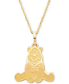 "Disney© Children's Winnie the Pooh 15"" Pendant Necklace in 14k Gold"