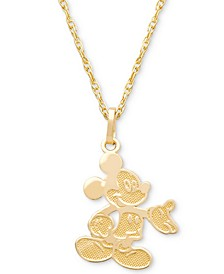 "Children's Mickey Mouse 15"" Pendant Necklace in 14k Gold"