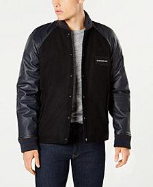 Calvin Klein Jeans Men's Mixed Media Varsity Jacket
