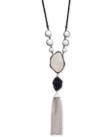 "Lucky Brand Silver-Tone Druzy Stone, Imitation Pearl & Chain Tassel Rope Cord 28"" Pendant Necklace"