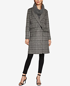 BCBGMAXAZRIA Valentina Double-Breasted Plaid Coat
