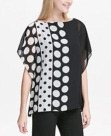 Calvin Klein Dot-Print Chiffon Top