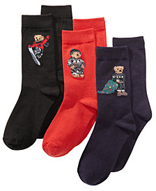 Polo Ralph Lauren Little & Big Boys 3-Pk. Bear Crew Socks