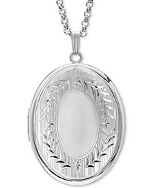"""Signet Oval Double Frame Locket 30"""" Pendant Necklace in Sterling Silver"""
