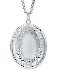 "Signet Oval Double Frame Locket 30"" Pendant Necklace in Sterling Silver"