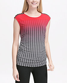 Calvin Klein Printed Ombré Button-Shoulder Top