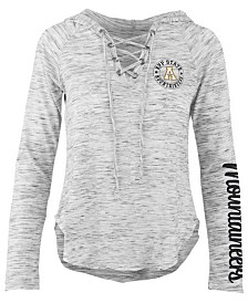 Pressbox Women's Appalachian State Mountaineers Spacedye Lace Up Long Sleeve T-Shirt