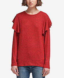 DKNY Flounce-Shoulder Sweater