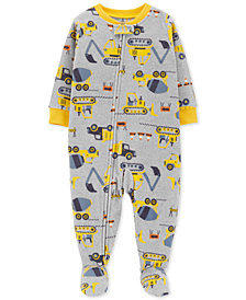 Carter's Toddler Boys Construction-Print Footed Pajamas