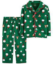 Carter's Toddler Boys 2-Pc. Fleece Holiday-Print Pajamas