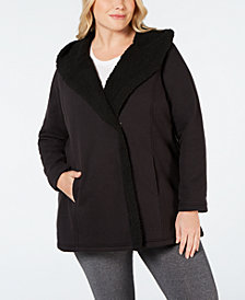 Ideology Plus Size Fleece-Lined Hooded Jacket, Created for Macy's